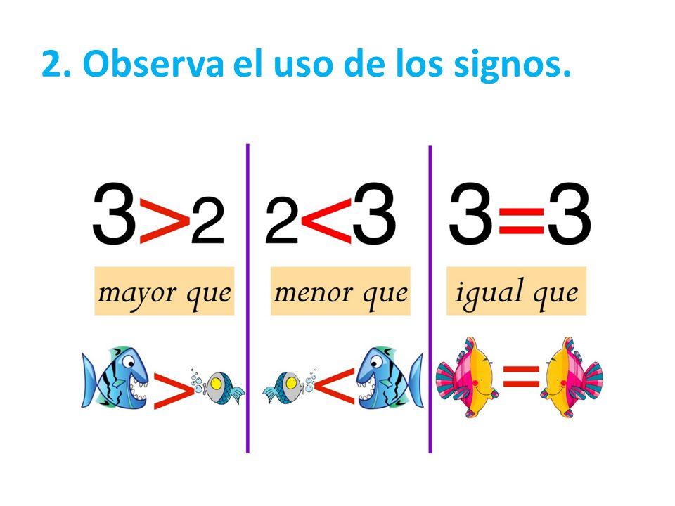 2. Observa el uso de los signos.