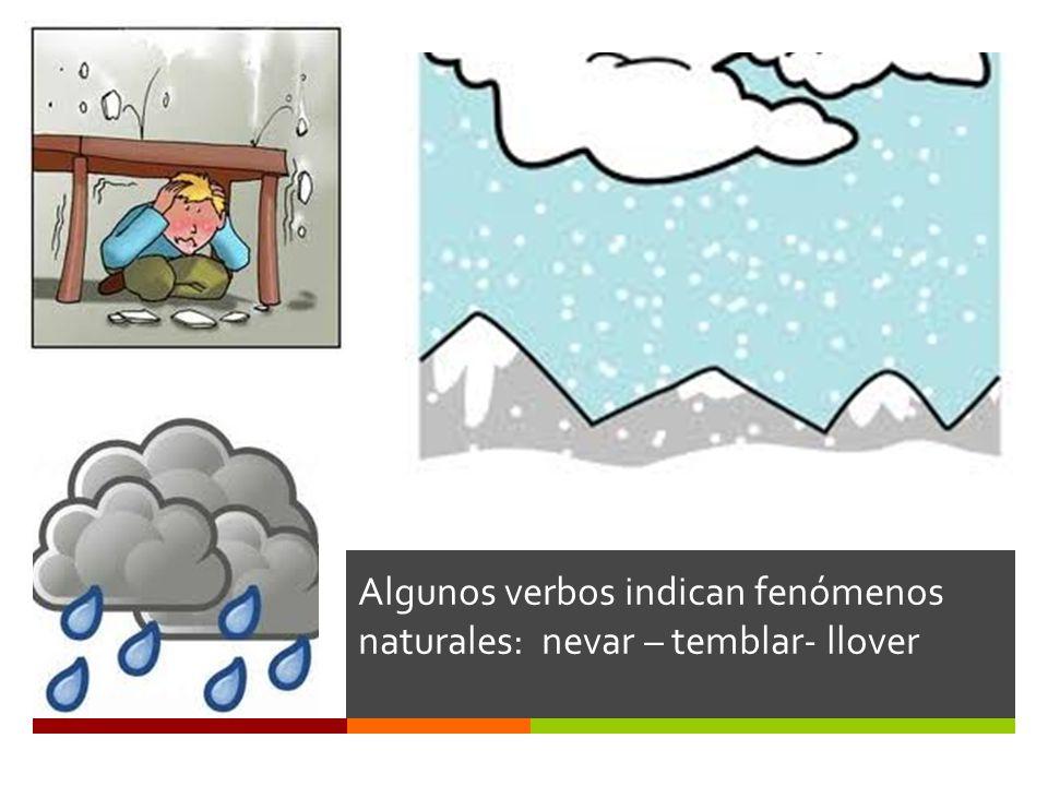 Algunos verbos indican fenómenos naturales: nevar – temblar- llover