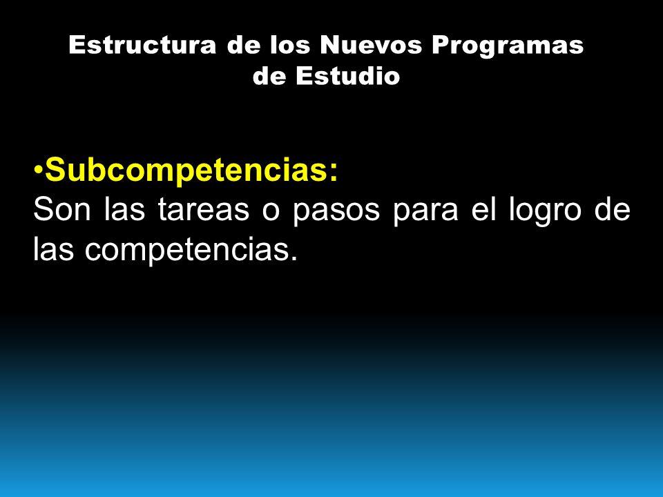 Estructura de los Nuevos Programas de Estudio