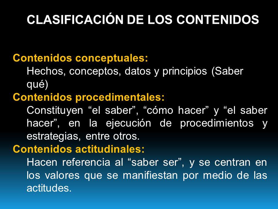 CLASIFICACIÓN DE LOS CONTENIDOS
