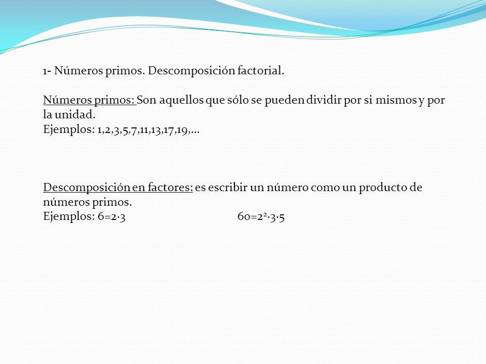 1- Números primos. Descomposición factorial.
