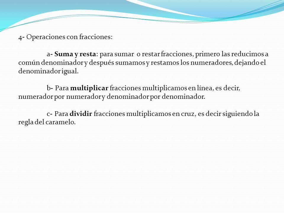 4- Operaciones con fracciones: