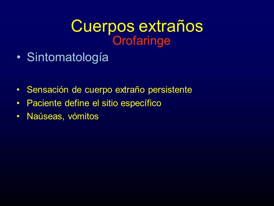 Cuerpos extraños Orofaringe Sintomatología