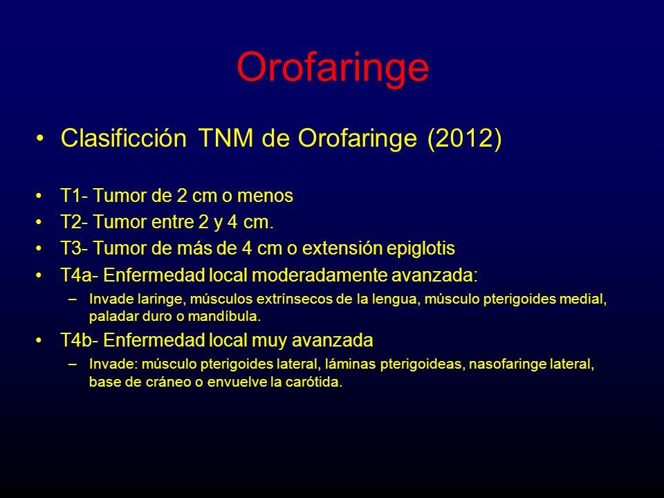 Orofaringe Clasificción TNM de Orofaringe (2012)