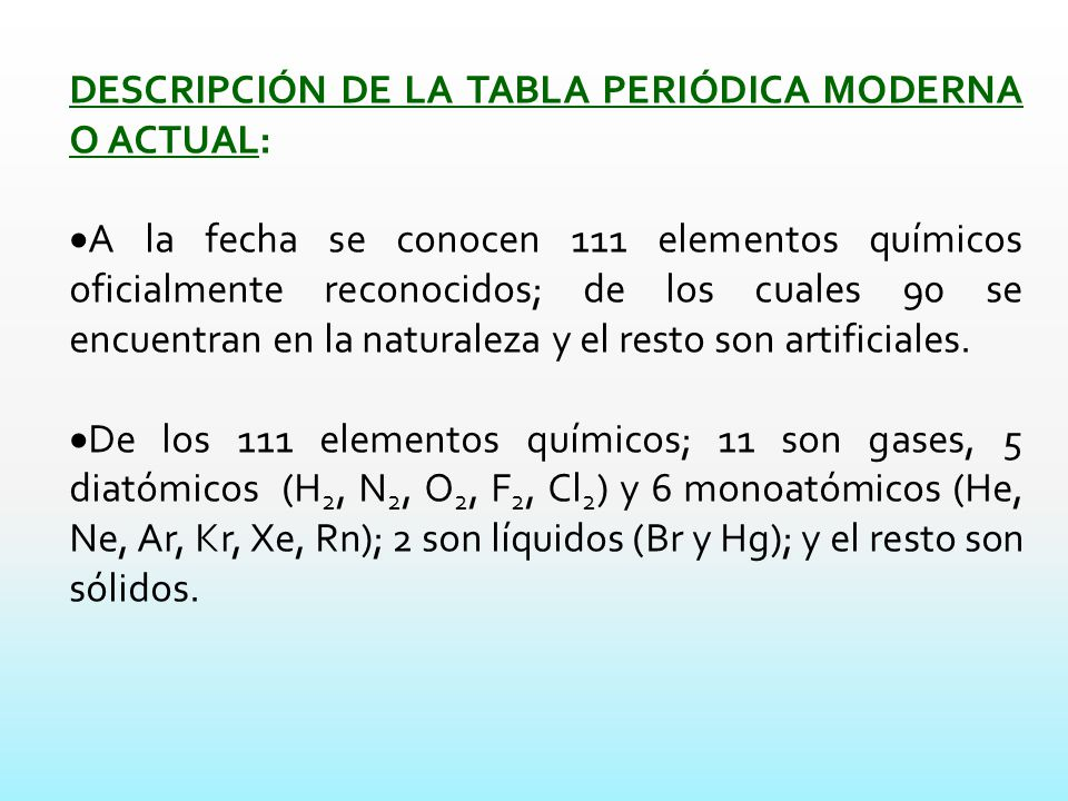 La tabla peridica actual ppt descargar descripcin de la tabla peridica moderna o actual urtaz Image collections