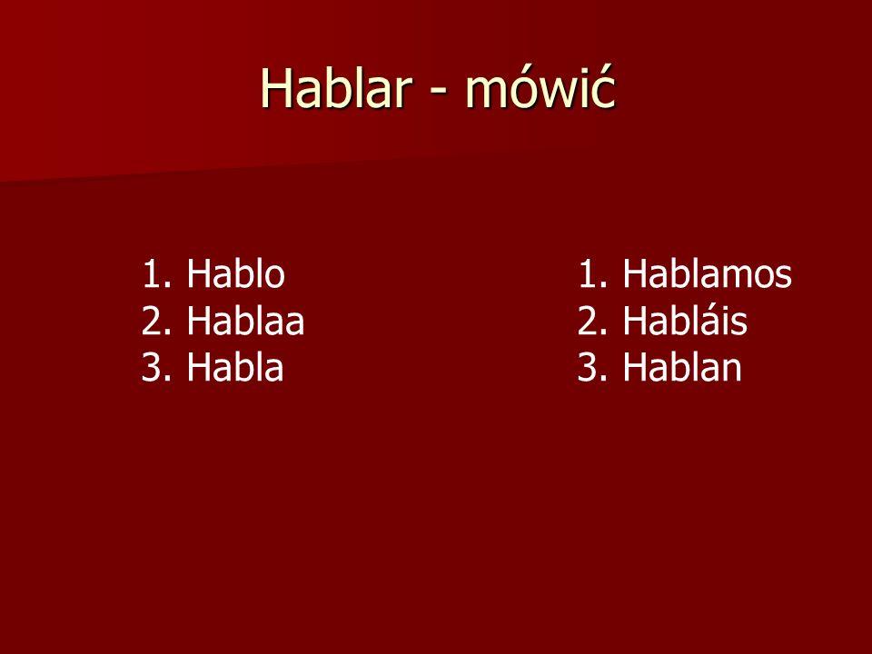 Hablar - mówić 1. Hablo 1. Hablamos 2. Hablaa 2. Habláis
