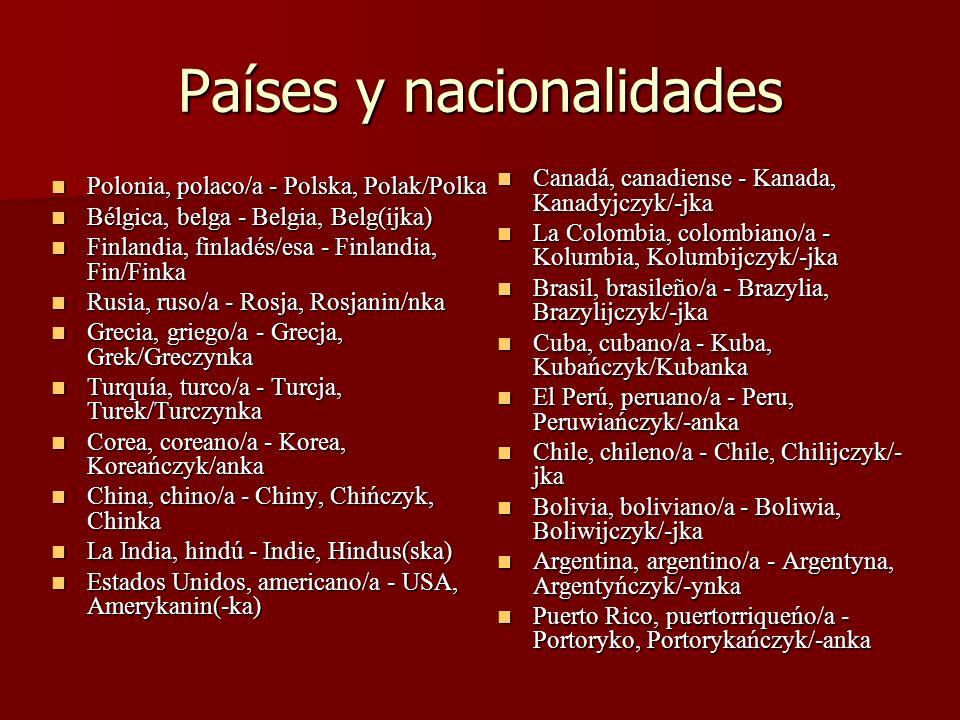 Países y nacionalidades