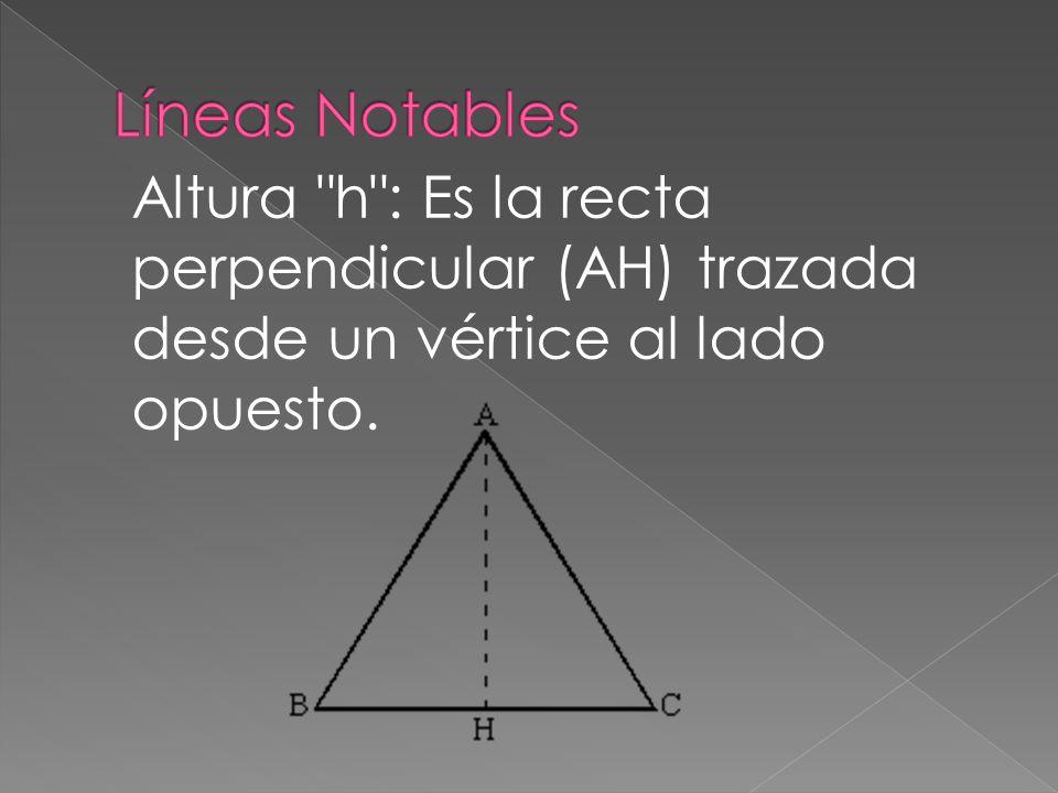 Líneas Notables Altura h : Es la recta perpendicular (AH) trazada desde un vértice al lado opuesto.