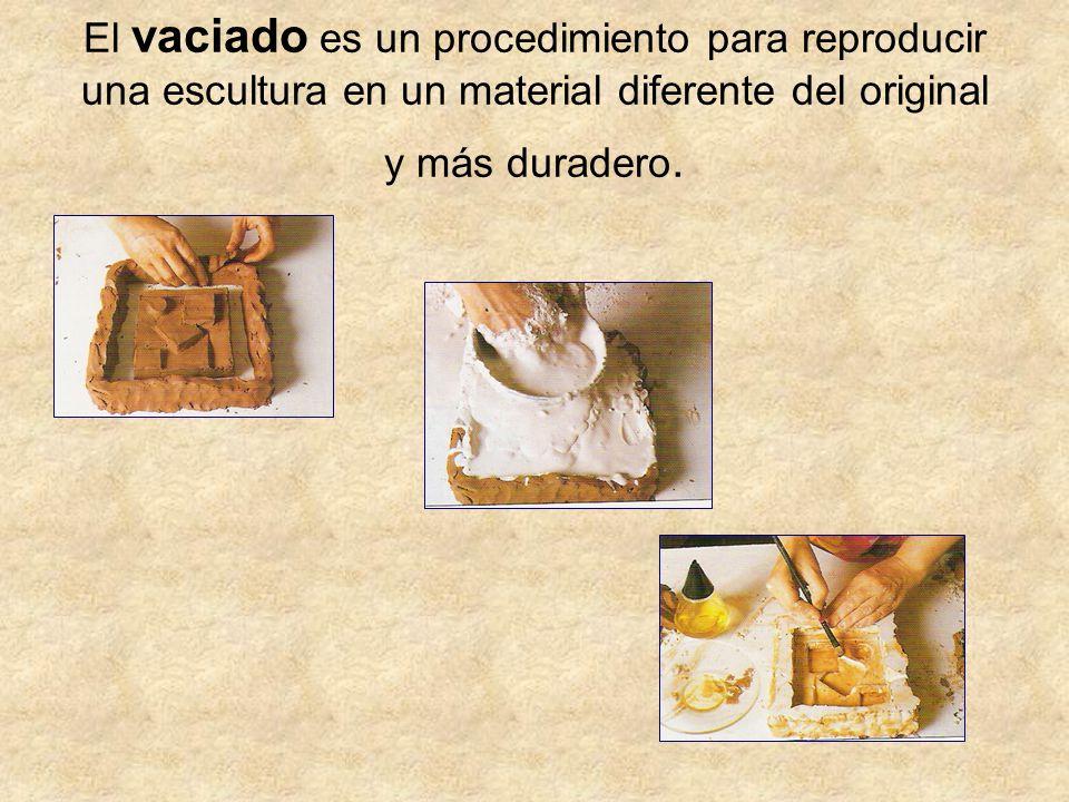 El vaciado es un procedimiento para reproducir una escultura en un material diferente del original y más duradero.