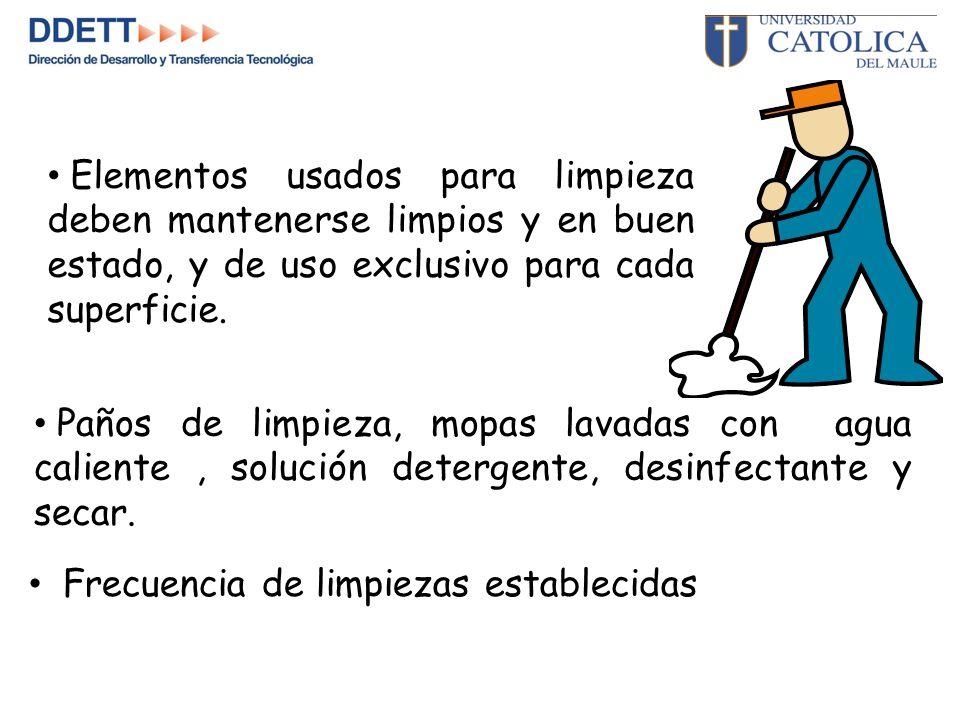 Elementos usados para limpieza deben mantenerse limpios y en buen estado, y de uso exclusivo para cada superficie.