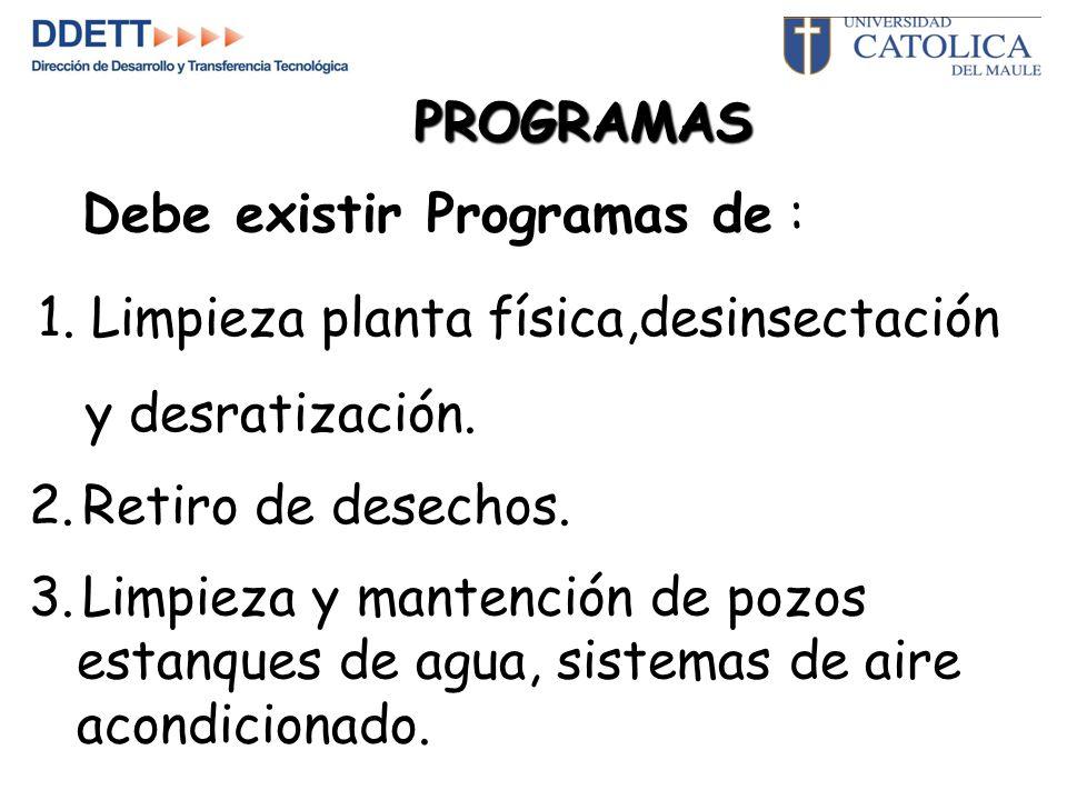 PROGRAMAS Debe existir Programas de : 1. Limpieza planta física,desinsectación. y desratización. Retiro de desechos.