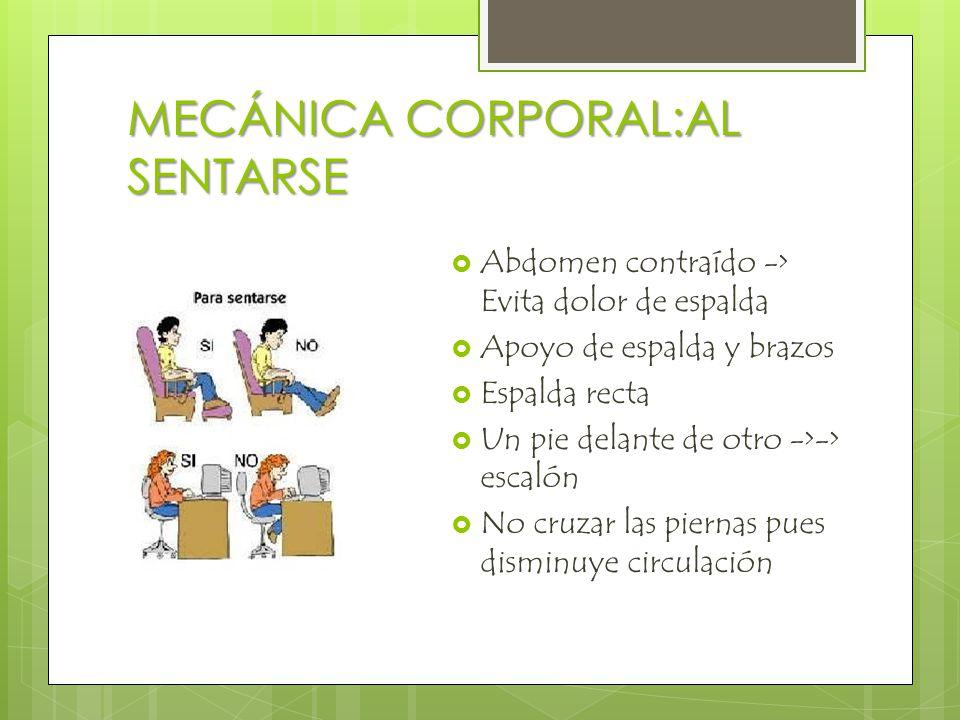 MECÁNICA CORPORAL:AL SENTARSE