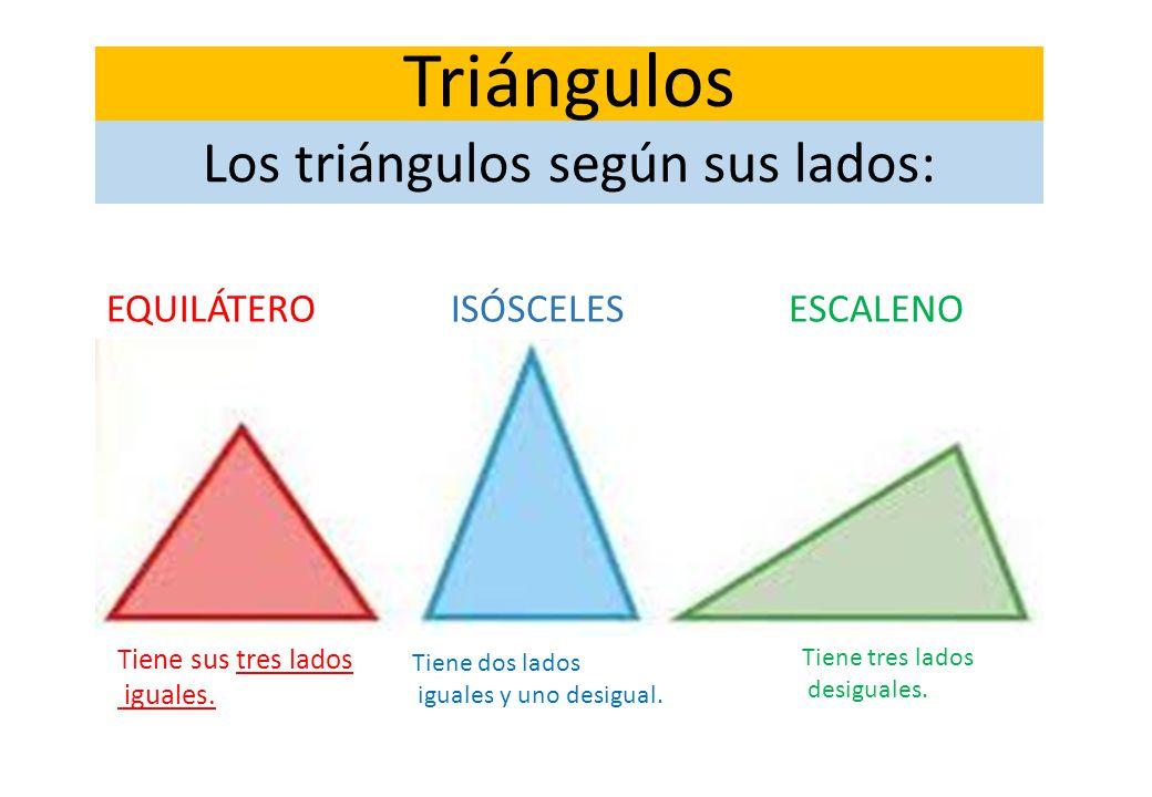 Los triángulos según sus lados: