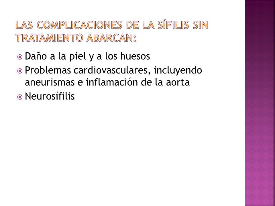 Las complicaciones de la sífilis sin tratamiento abarcan: