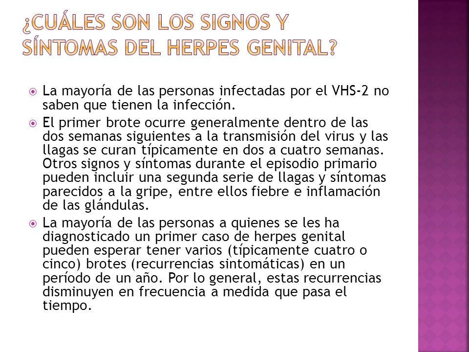 ¿Cuáles son los signos y síntomas del herpes genital