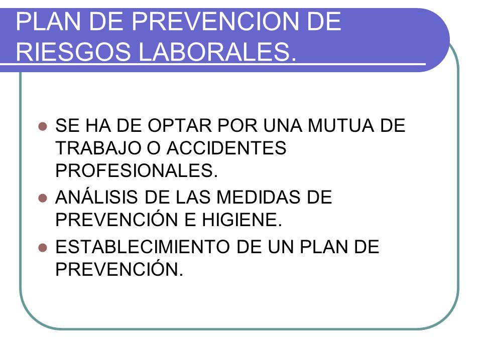 PLAN DE PREVENCION DE RIESGOS LABORALES.