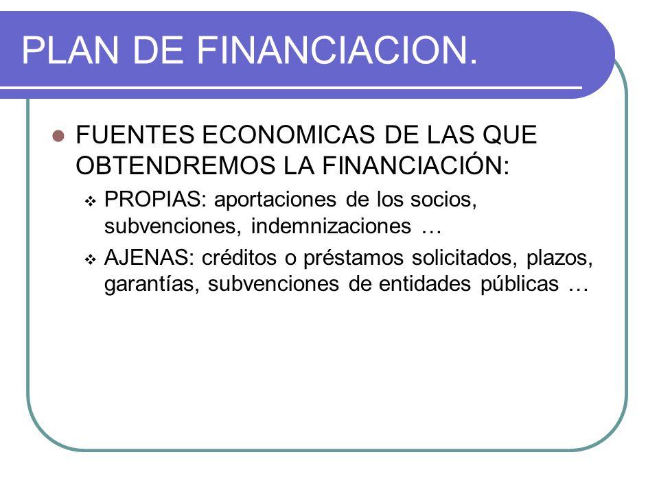 PLAN DE FINANCIACION. FUENTES ECONOMICAS DE LAS QUE OBTENDREMOS LA FINANCIACIÓN: