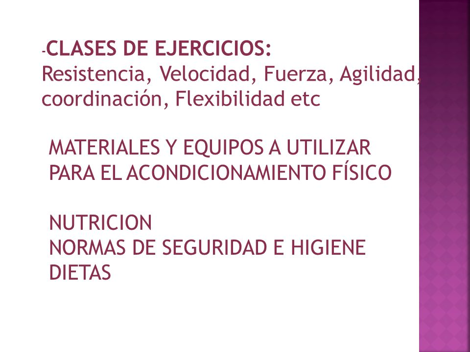 MATERIALES Y EQUIPOS A UTILIZAR PARA EL ACONDICIONAMIENTO FÍSICO