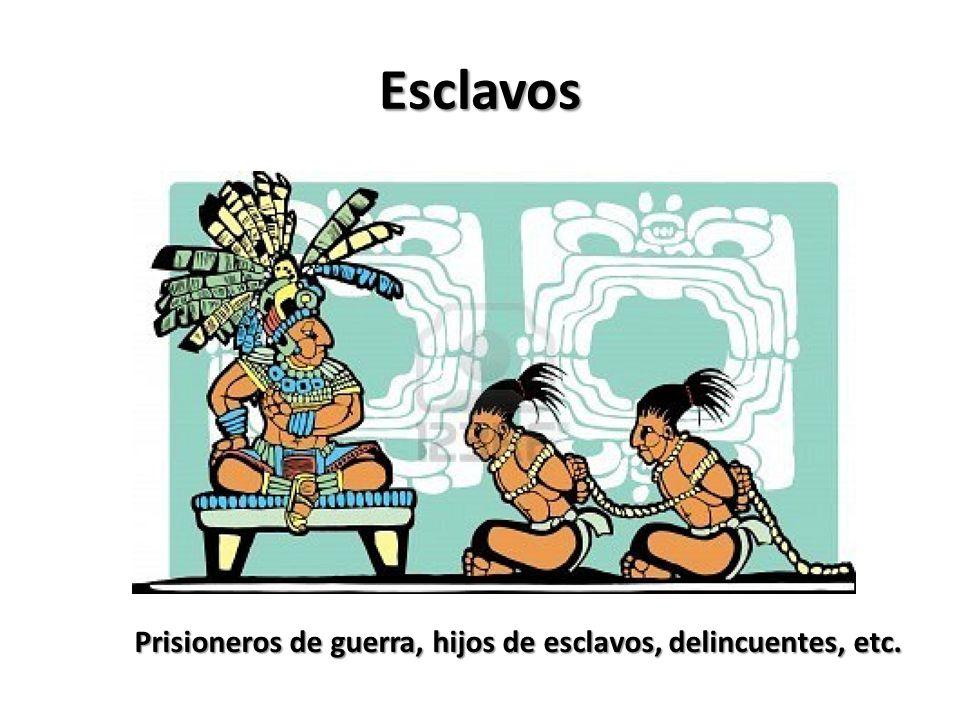 Esclavos Prisioneros de guerra, hijos de esclavos, delincuentes, etc.