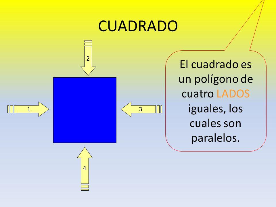CUADRADO 2 El cuadrado es un polígono de cuatro LADOS iguales, los cuales son paralelos. 1 3 4