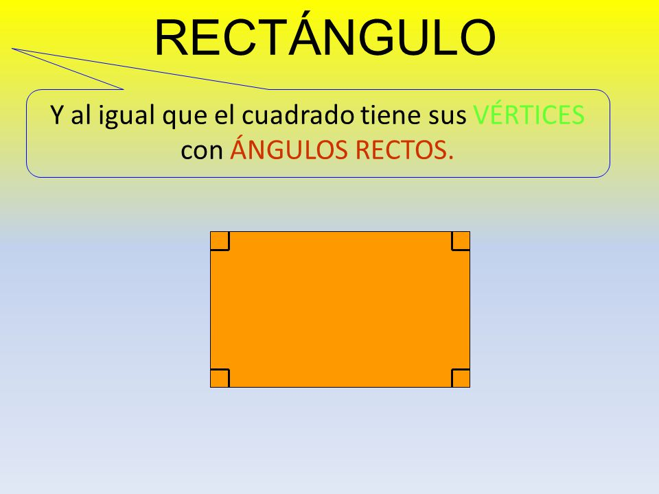 Y al igual que el cuadrado tiene sus VÉRTICES con ÁNGULOS RECTOS.