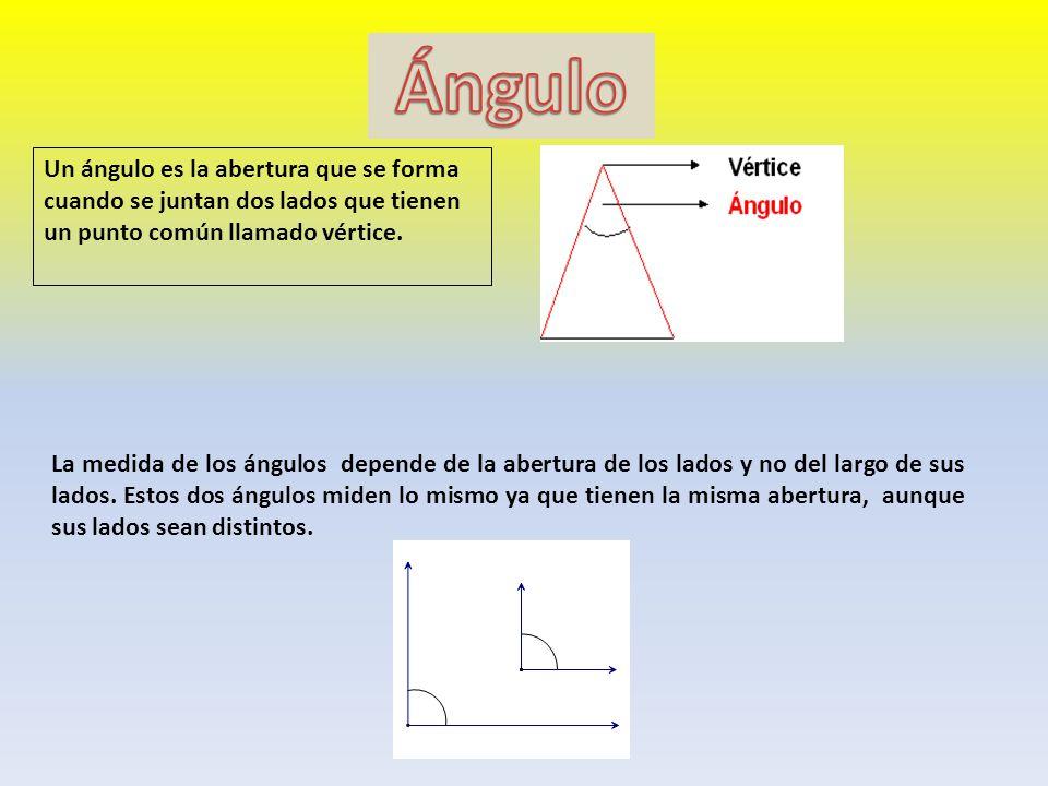 Ángulo Un ángulo es la abertura que se forma cuando se juntan dos lados que tienen un punto común llamado vértice.