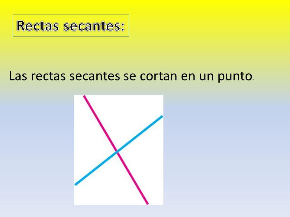 Rectas secantes: Las rectas secantes se cortan en un punto.