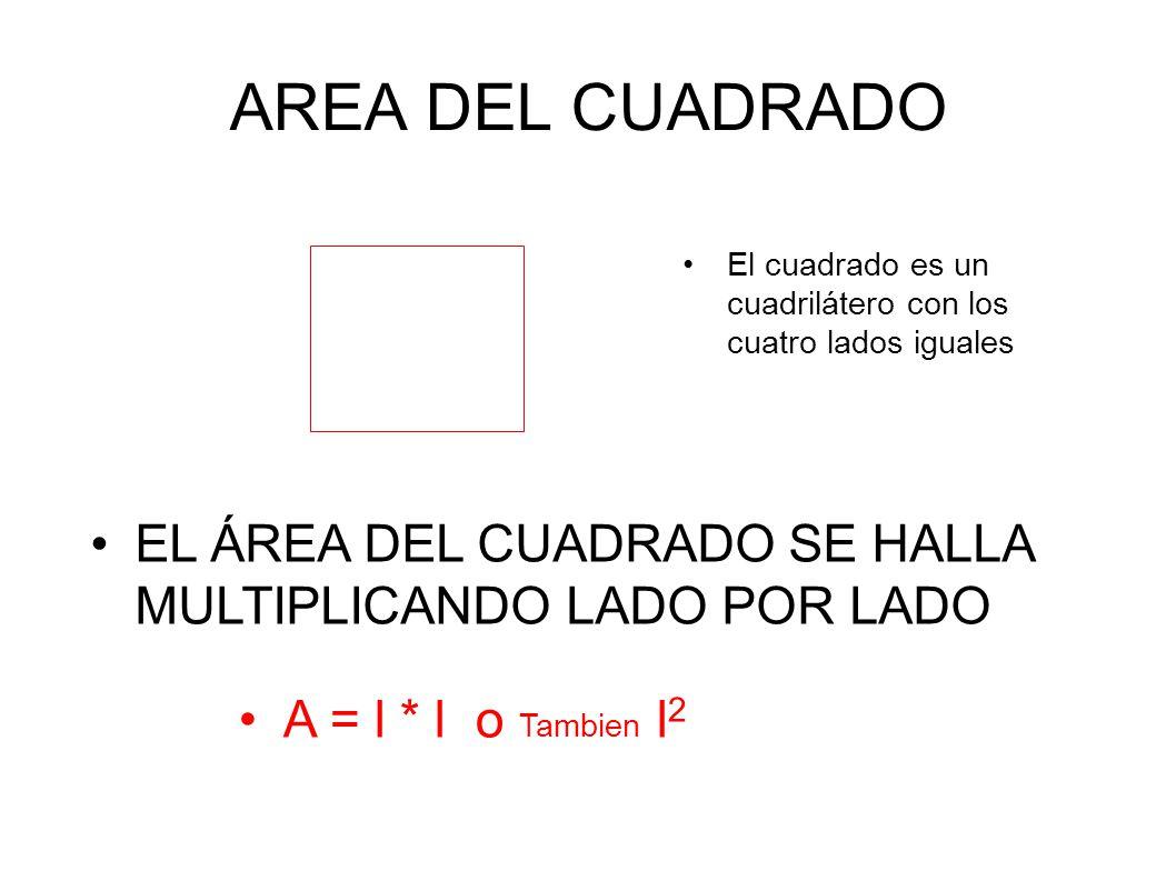 AREA DEL CUADRADO El cuadrado es un cuadrilátero con los cuatro lados iguales. EL ÁREA DEL CUADRADO SE HALLA MULTIPLICANDO LADO POR LADO.
