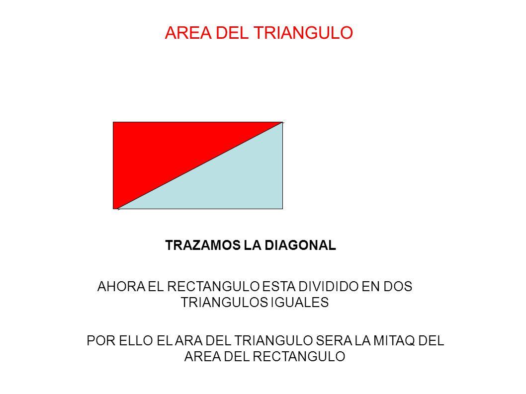AREA DEL TRIANGULO TRAZAMOS LA DIAGONAL