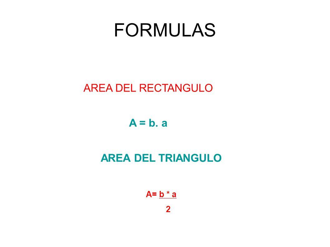 FORMULAS AREA DEL RECTANGULO A = b. a AREA DEL TRIANGULO A= b * a 2
