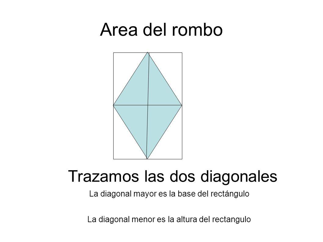 Area del rombo Trazamos las dos diagonales