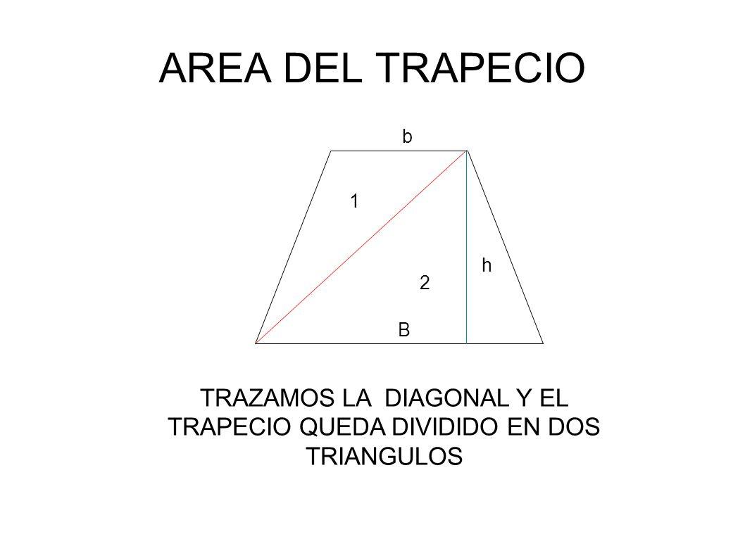 TRAZAMOS LA DIAGONAL Y EL TRAPECIO QUEDA DIVIDIDO EN DOS TRIANGULOS