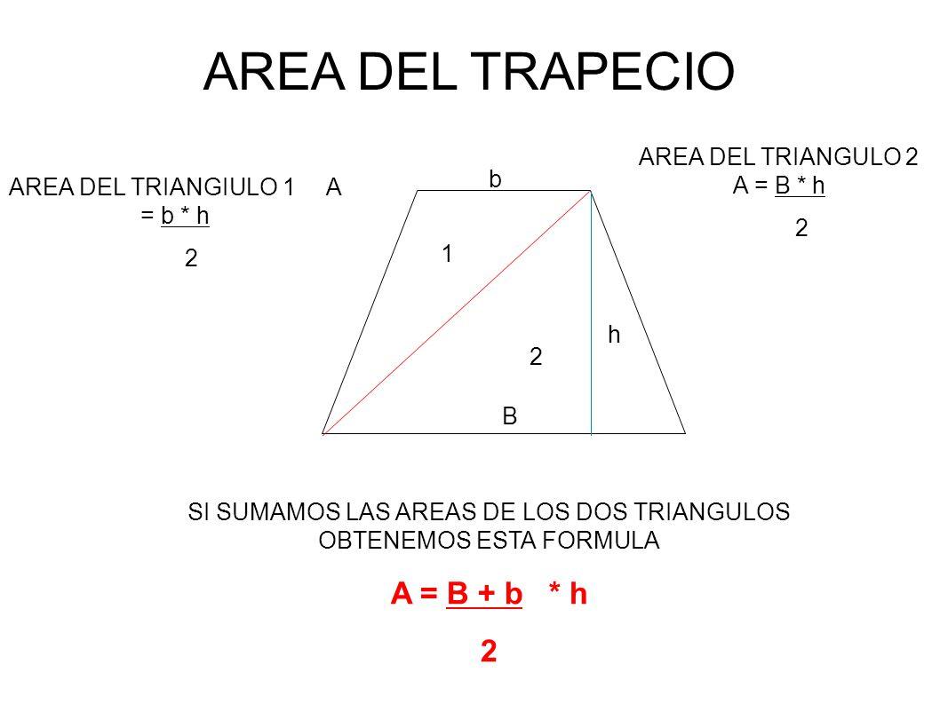 AREA DEL TRAPECIO A = B + b * h 2 AREA DEL TRIANGULO 2 A = B * h b