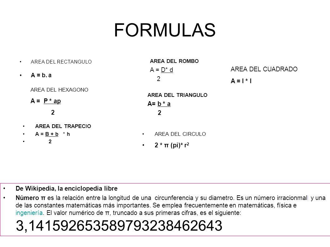 FORMULAS A = D* d 2 AREA DEL CUADRADO A = l * l A = P * ap 2 A= b * a
