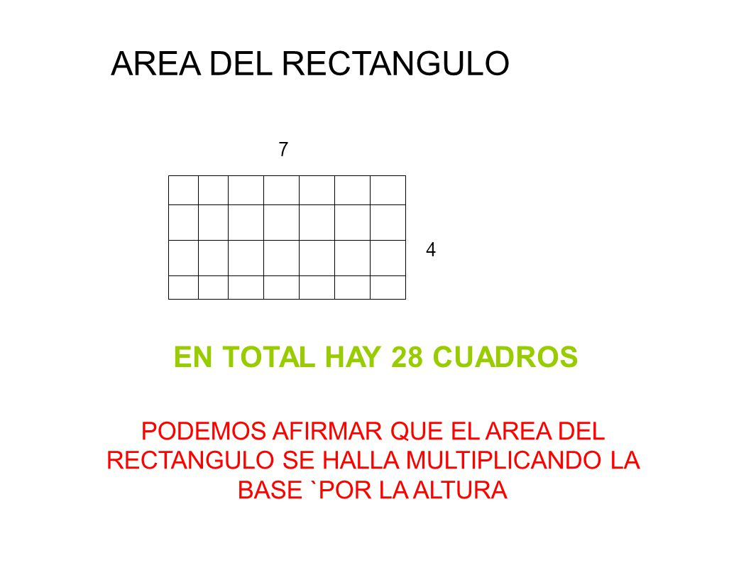 AREA DEL RECTANGULO EN TOTAL HAY 28 CUADROS