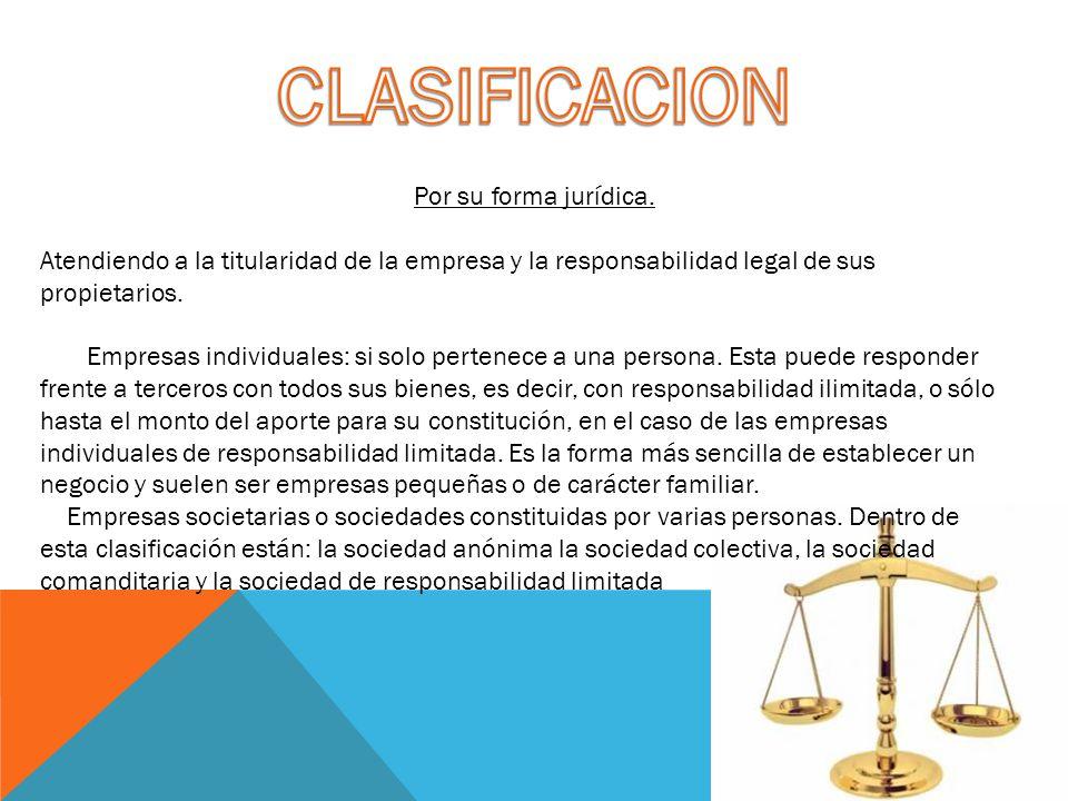 CLASIFICACION Por su forma jurídica.