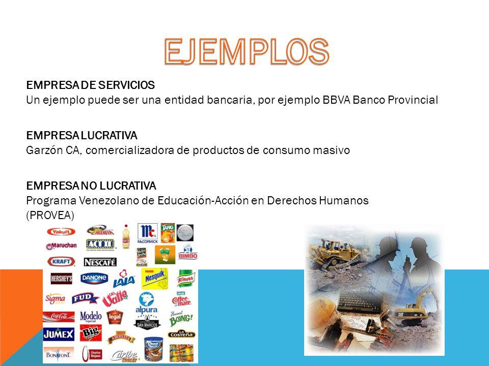 EJEMPLOS EMPRESA DE SERVICIOS