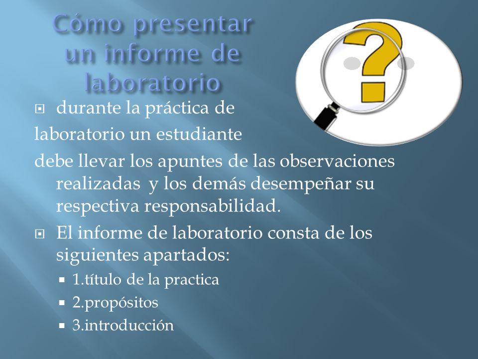 Cómo presentar un informe de laboratorio