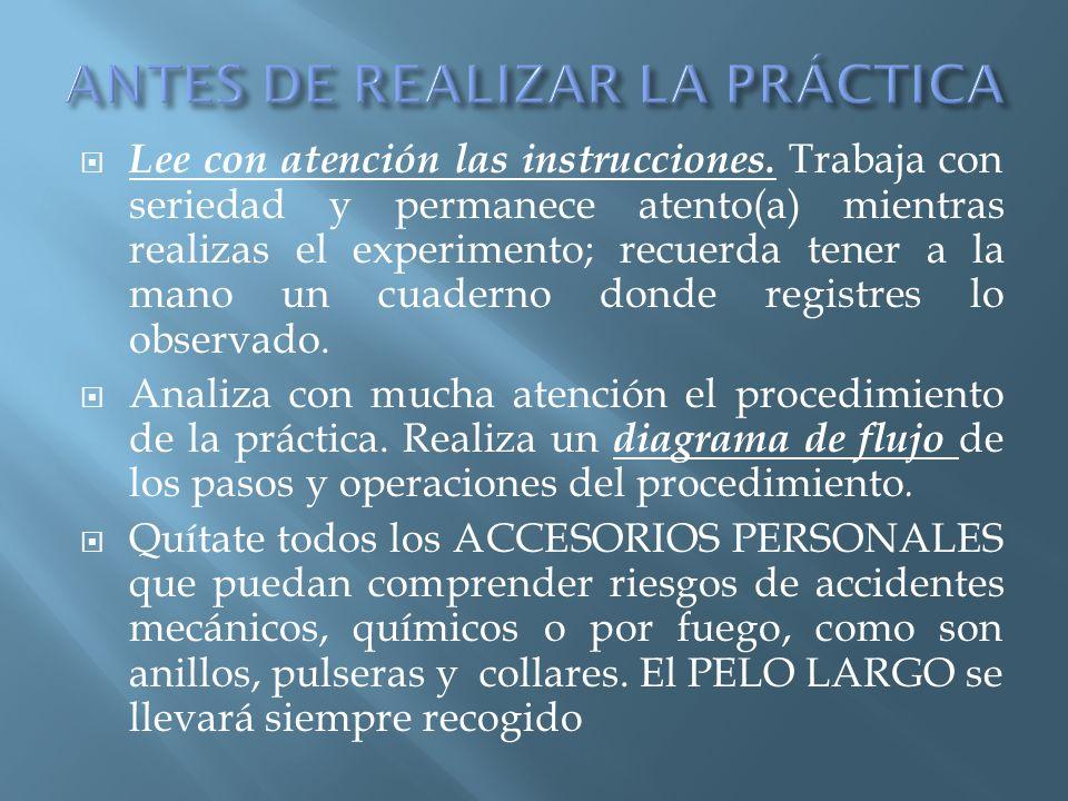 ANTES DE REALIZAR LA PRÁCTICA