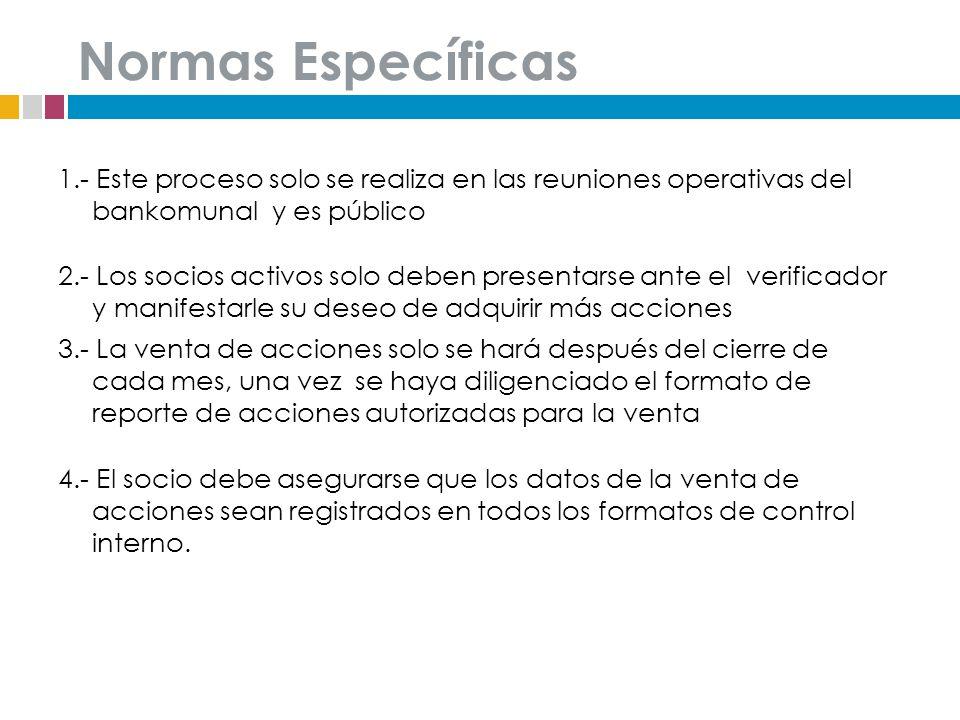 Normas Específicas 1.- Este proceso solo se realiza en las reuniones operativas del bankomunal y es público.