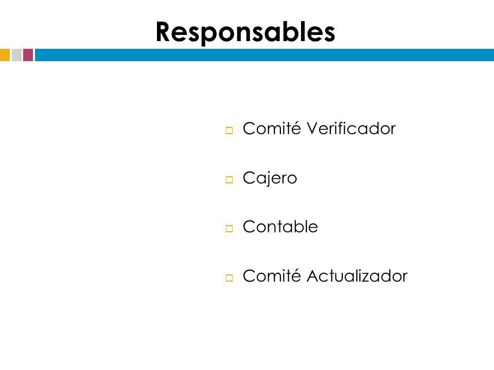 Responsables Comité Verificador Cajero Contable Comité Actualizador