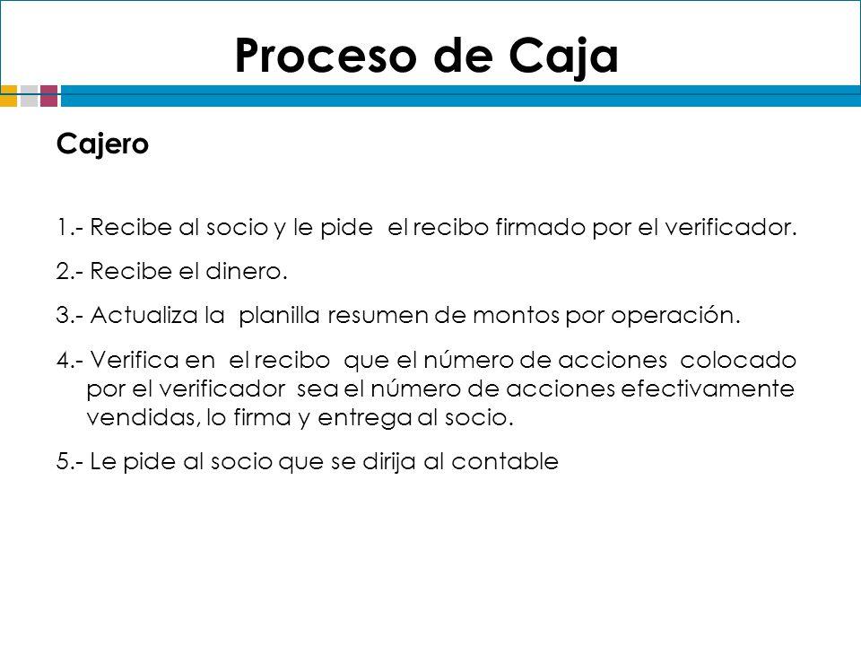 Proceso de Caja Cajero. 1.- Recibe al socio y le pide el recibo firmado por el verificador. 2.- Recibe el dinero.