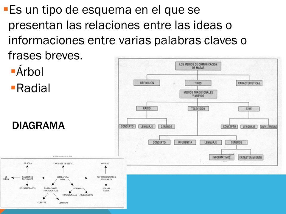 Es un tipo de esquema en el que se presentan las relaciones entre las ideas o informaciones entre varias palabras claves o frases breves.