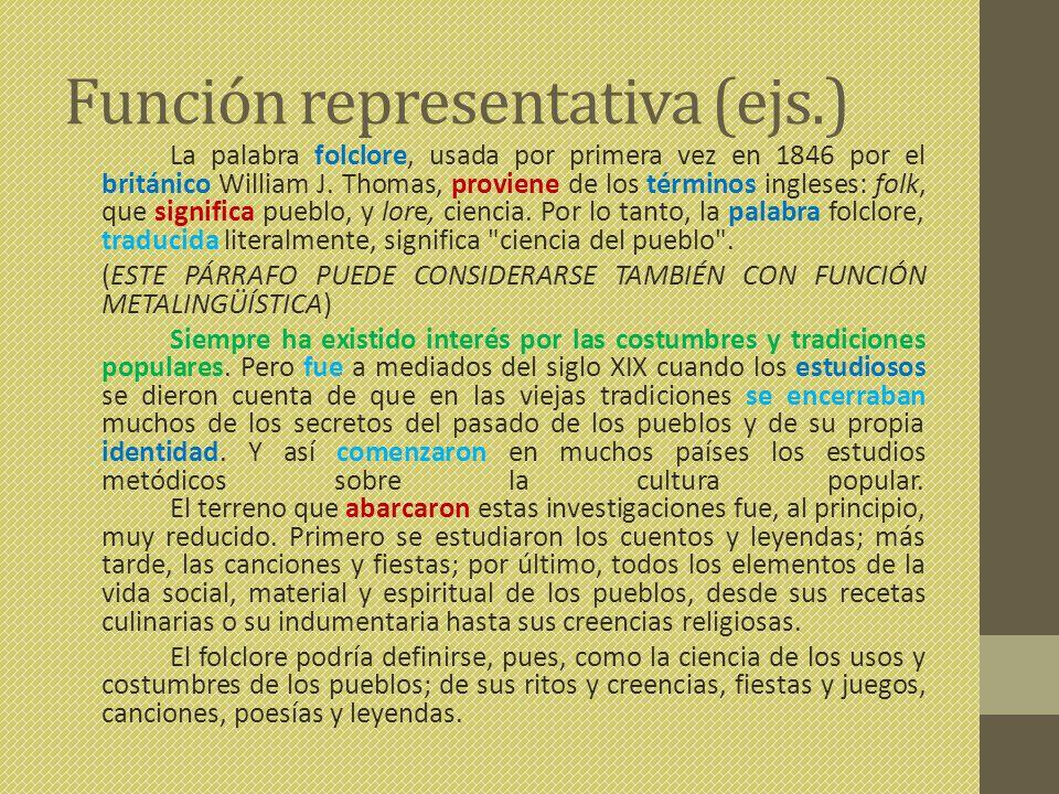 Función representativa (ejs.)