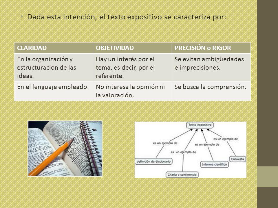Dada esta intención, el texto expositivo se caracteriza por: