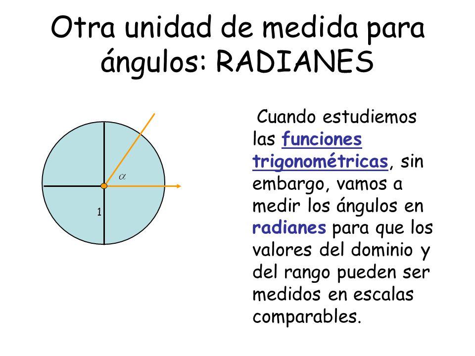 Otra unidad de medida para ángulos: RADIANES