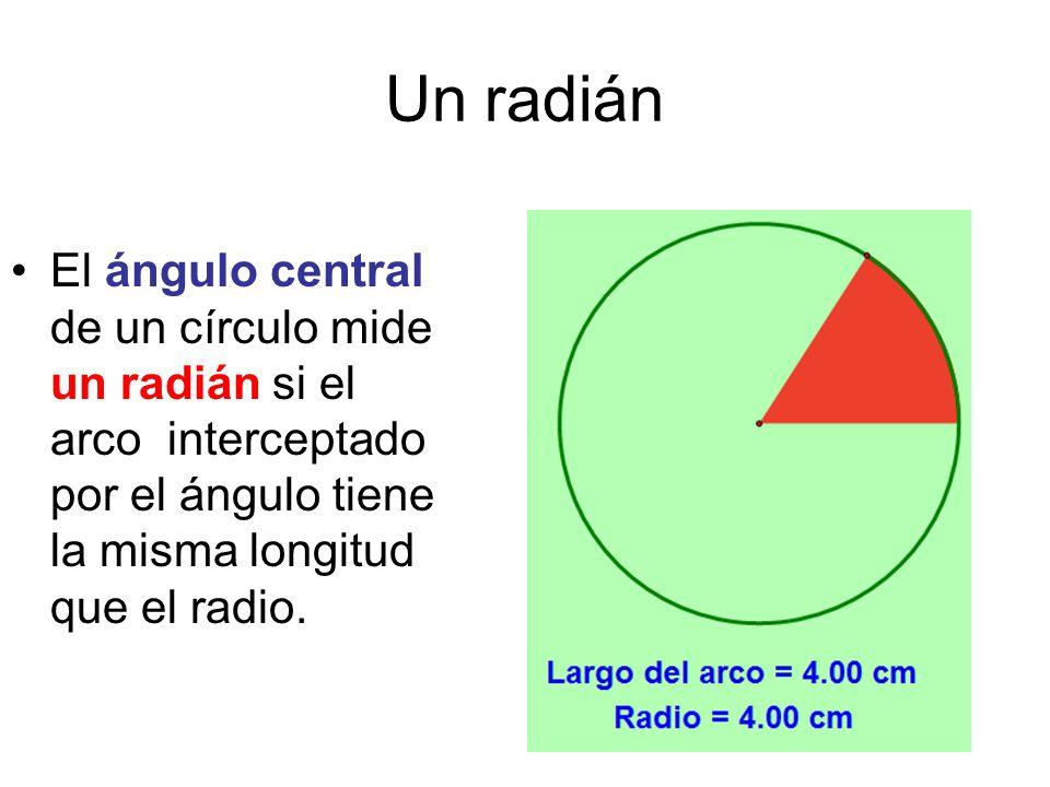 Un radián El ángulo central de un círculo mide un radián si el arco interceptado por el ángulo tiene la misma longitud que el radio.