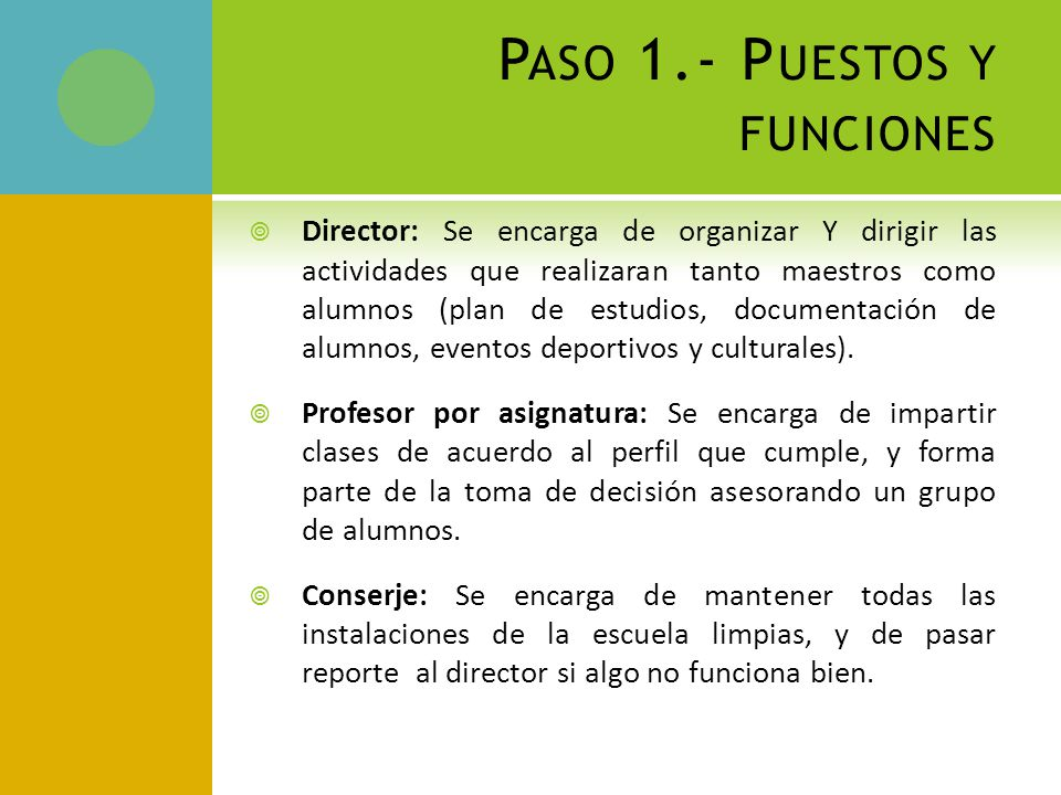 Paso 1.- Puestos y funciones