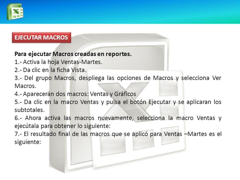 EJECUTAR MACROS Para ejecutar Macros creadas en reportes. 1.- Activa la hoja Ventas-Martes. 2.- Da clic en la ficha Vista.