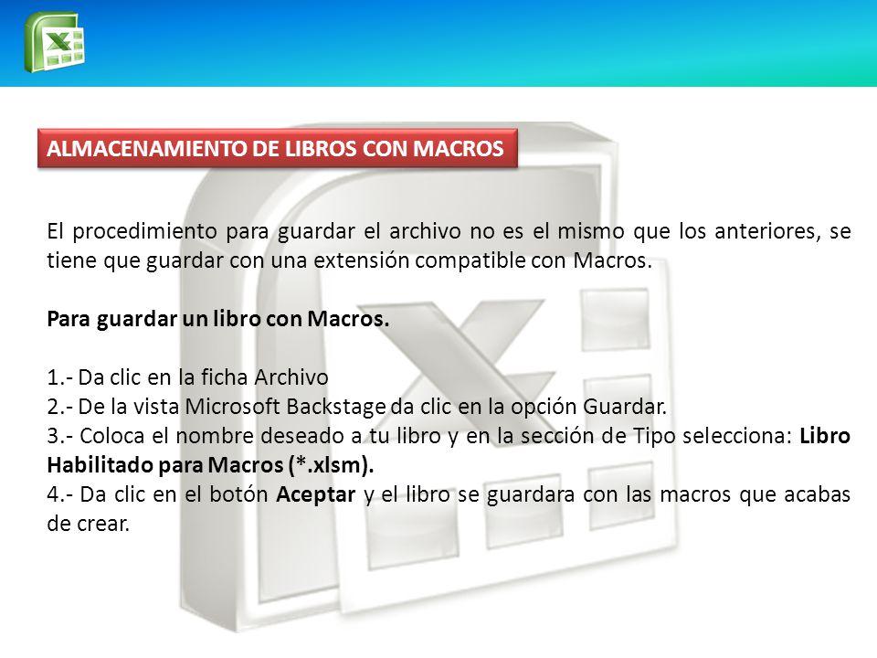 ALMACENAMIENTO DE LIBROS CON MACROS